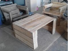 DIY: Pallette Furniture. 2 Chairs and a Table for the patio. Chair on left has been stained in weathered oak by Minwax. The other chair and table have not been stained yet.