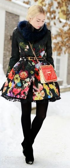 Flowers In The Winter coat by Fashion Around