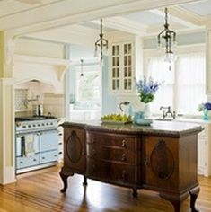 repurposed furniture - stately piece now serves as a kitchen island