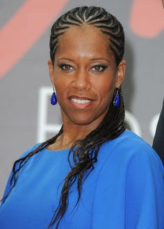 Regina King attended a photocall for the TV series Southland wearing fancy cornrows that are perfect for the beach, too.