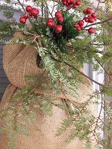 christmas greenery in burlap