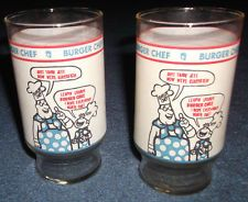 Two Vintage Burger Chef Glasses