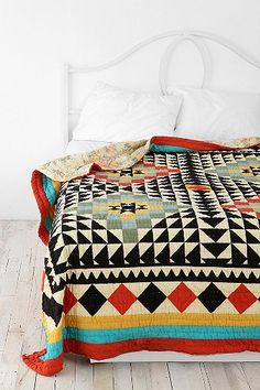 bedding, kaleidoscop, urban outfitters, beds, pattern, color schemes, colors, colorful quilts, blankets
