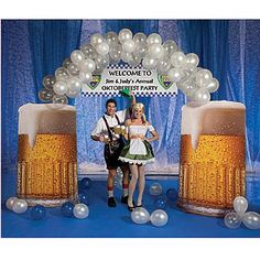 Use the 6 ft x 4 ft Beer Balloon Arch at the entrance of your party or event. Each Beer Mug Balloon Arch is free standing and includes 48 each of our clear latex balloons and white latex balloons. #Oktoberfest