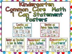 """This packet has posters to display """"I  Can"""" statements for the Math Common Core State Standards for Kindergarten.The """"I Can"""" Statements..."""