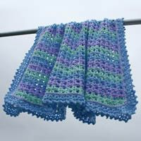 Striped Lace Crochet Baby Blanket -- Free Crochet Pattern