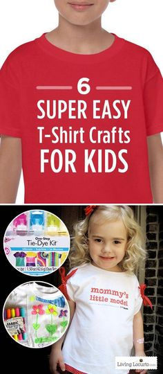 6 Super Easy T-Shirt Crafts for Kids! Make creative wearable art and fun memories with your kids.