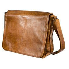 A classic tan leather men's messenger men's -Moore & Giles