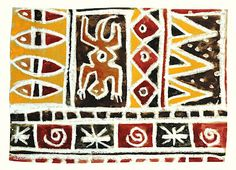African Patterns on brown paper, oil pastel, and watercolor