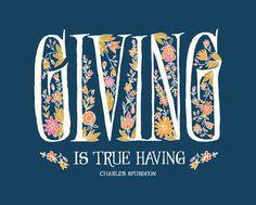 Giving is True Having Charles Spurgeon Art by littlethingsstudio, $15.00