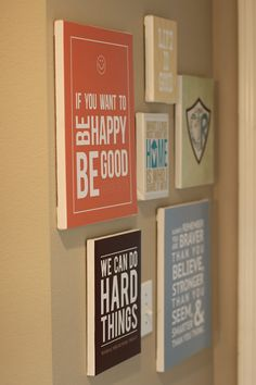 Free printables. Print them on scrapbook paper and then mod podge them to a board. Love these