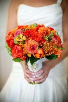 Orange Dahlia Fall Wedding Bouquet