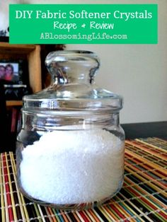 DIY Fabric Softener Crystals  2 cups Epsom salt  20 drops of essential oils    Directions:  Mix ingredients together and put in a container.  Add 1/4 cup per load at the same time as your laundry detergent.