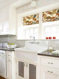 backsplash tile, kitchen windows, cabinet doors, window treatments, kitchen sinks, farmhouse sinks, roman shades, subway tiles, white cabinets