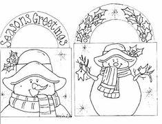 season greetingssnowmen, craft, seasons, redwork, stitcheri, christma, embroideri