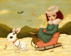 Children's Art, Girls Room Art, Poster, Rabbit, Girl Art Print, Kids Art, Girls Decor, Cute, Whimsical - A Jackalope Sleigh Ride 10x8. $10.00, via Etsy.