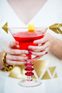 lovely cocktail accent, photo by Izzy Hudgins http://ruffledblog.com/mod-valentines-day-wedding-ideas #drinks #weddingideas