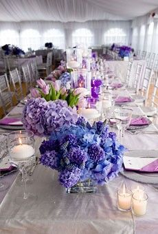 center pieces table settings, shades of purple, centerpiec, spring weddings, color, wedding ideas, wedding center pieces, wedding flowers, flower ideas