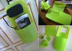 Holder for Charging Cell Phone. Made from shampoo bottle.