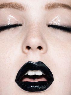 Black Beauty  #beauty #makeup #design #art #photography #fashion #style #inspiration #trend #cool #black #blacklips #eyeliner #gloss