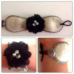 Vintage Baseball Bracelet Black Lace Flower by BaseballBling31, $28.00