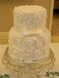 Love this cake...shower maybe? Rose Cake with Bow By cb3 on CakeCentral.com