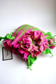 felt pink, felt floral, wet felt, 3d wet, floral purs