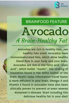 Brainfood Feature: Avocados, a superfood for the brain that's rich in healthy fats! #food #health #diet http://taps.io/fitbrains