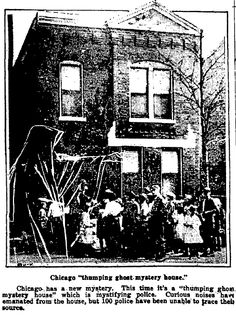 """A photo of a haunted house in Chicago, published in the Augusta Chronicle newspaper (Augusta, Georgia), 13 October 1922. Read more on the GenealogyBank blog: """"6 Genealogy Projects to Interest Kids & Teens in Family History."""" http://blog.genealogybank.com/6-genealogy-projects-to-interest-kids-teens-in-family-history.html"""