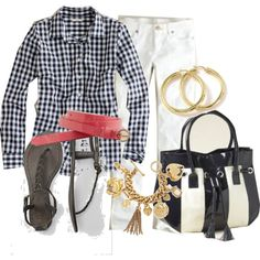 Gingham with white jeans and a bright belt...LOVE!!!