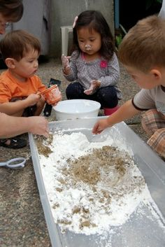 "Make your own ""moon sand"" with cornstarch, water and sand.  outdoor fun."