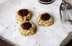These are almost dangerously tasty. You've got a heavenly cookie base mainly made up of cashews and oats, creating a nest for fresher-than-fresh berry jam with chia seeds.