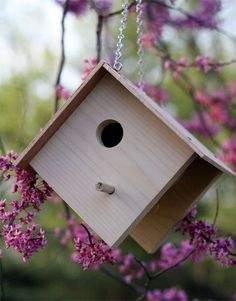 Make these simple bird houses just in time for the cold weather. Fun to make with kids! #make #birdhouse #plan skiptomylou.org