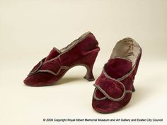 Red Velvet Shoes, 1760, England.
