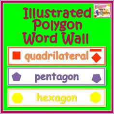 Ten large illustrated Polygon word wall cards #geometry #math #shapes