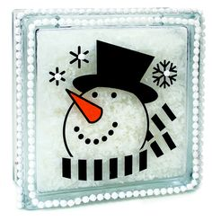 Nicole™ Crafts Snowman Head Glass Block #christmas #glassblock