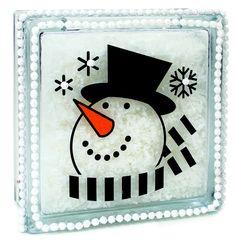 block craft, holiday, block idea, snowman head, head glass, craft snowman, glass block, glassblock, christma