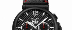Milus Zetios Chronograph opta por el negro y el rojo, acabados deportivos con fibra de carbono y movimiento automático suizo.