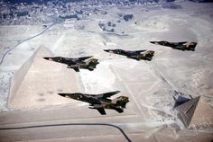 Four F-111Ds from the 522nd AMU, Cannon AFB, over the Great Pyramids during Bright Star '83. I was there.