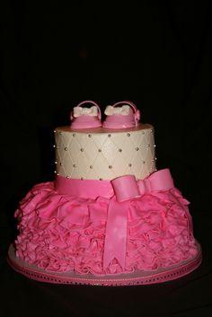 So cute! baby shower cakes, tutu birthday cakes, baby girl cake shower, tutu cake, baby girl shower, 1st birthdays, baby cakes, babi shower, baby showers
