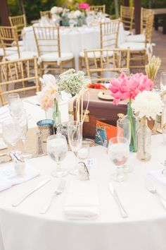 Blush & Vintage Travel Themed Wedding // Photographer: Melissa Biador, Wedding Planner/Coordinator: Joyful Weddings & Events , Flowers & Decor: Forever Vintage Rentals, see more: http://theeverylastdetail.com/blush-vintage-travel-themed-wedding/