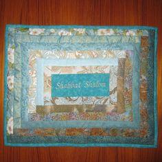 Shabbat Shalom Aqua Apple Blossoms Design Jewish Challah Cover by Judaic Fancywork #Jewish gifts