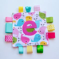 Personalized Baby Sensory Crinkle Crackle Toy in Bird print with Pink Minky backing