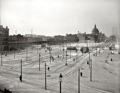 Historic photo of former tram yard in South Williamsburg, at Havemeyer and Broadway, facing Williamsburg Bridge, now an end station for various bus lines, by Marcy stop of J/M/Z.