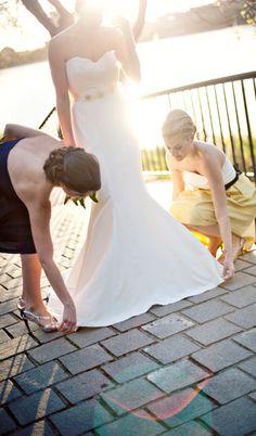 Bridesmaid Dresses: Coren Moore  Bridal Gown: Nicole Miller  Belt: A.B. Ellie  Photo By: Sweet Jane Photography