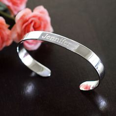 Personalized Thin Cuff Bracelet from Wedding Favors Unlimited
