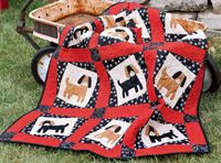 Puppy Pals. Quilt designed and made by Marianne Fons. Machine quilted by Kelly Van Vliet. Delight a little one with an adorable puppy quilt. Marianne keeps this quilt simple with fusible web and machine appliqué. Make the tilted blocks following our free Sew Easy Lesson. pal quilt, puppies, applique quilts, babi quilt, puppi quilt, appliqu quilt, puppi pal, quilt dog, dog quilt