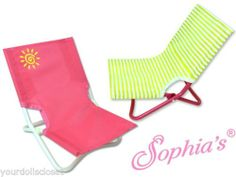 Set of 2 Beach Chairs Match with Cabana that Fits American GIrl Dolls New beach chairs, beaches, ag beach, girl doll, american girl beach cabana set, loung beach, ag doll, beach accessori, american girls