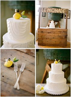 Ojai Wedding Photographers • Limoneira Ranch Wedding lemons wedding cake. I can't find this topper and I want it!!!