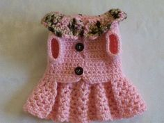 CROCHETED PET DOG CLOTHES APPAREL SWEATER DRESS COAT BABY PINK XXS!!